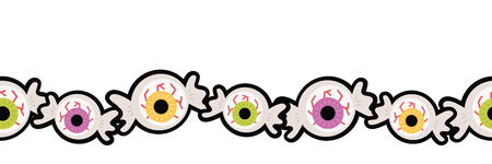 Vector Eyeball Halloween Hard Candy Seamless Border. Perfect for scrapbooking, kids, stationery, Halloween, and home decor projects.