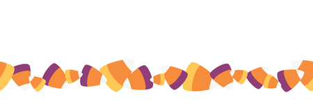 Vector Scattered Sweet Candy Corn Seamless Border. Perfect for scrapbooking, kids, stationery, Halloween, and home decor projects.