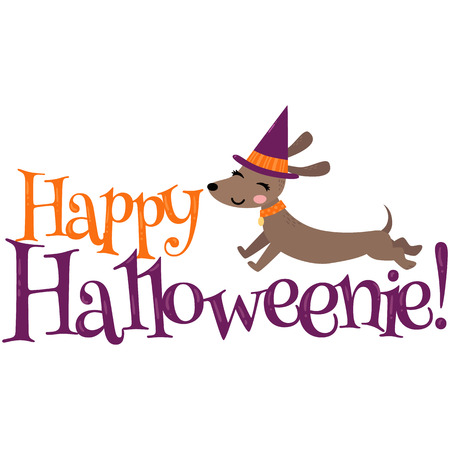 Vector Happy Halloween Dachshund Halloween Phrase Illustration 일러스트