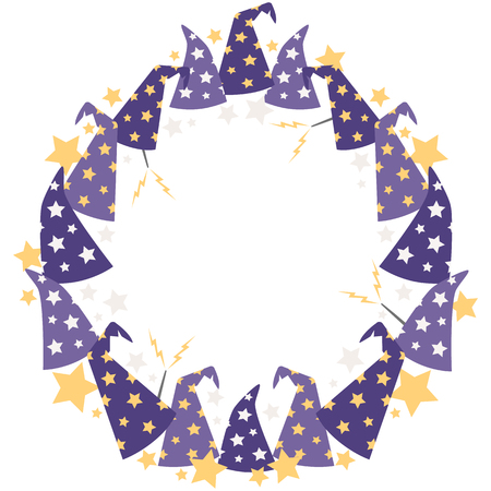Vector Magical Starry Wizard Hats Circle Wreath. Perfect for scrapbooking, kids, stationery, Halloween, and home decor projects. Ilustração