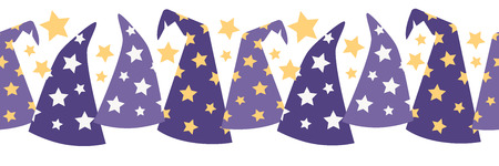 Vector Magical Starry Wizard Hats Seamless Border. Perfect for scrapbooking, kids, stationery, Halloween, and home decor projects.