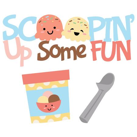 Vector Scoopin Up Fun Ice Cream behandelt Illustrationen. Perfekt für Scrapbooking, Kinder, Schreibwaren, Partys, Kleidung und Wohnkulturprojekte. Vektorgrafik