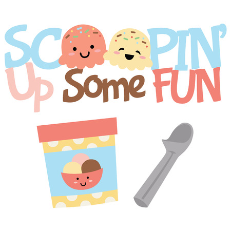Vector Scoopin Up Fun Ice Cream Treats Illustrations. Perfect for scrapbooking, kids, stationery, parties, clothing, and home decor projects. Vector Illustration