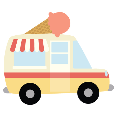 Vector Ice Cream Truck with Ice Cream Cone Illustration. Perfect for scrapbooking, kids, stationery, parties, clothing, and home decor projects. Ilustração
