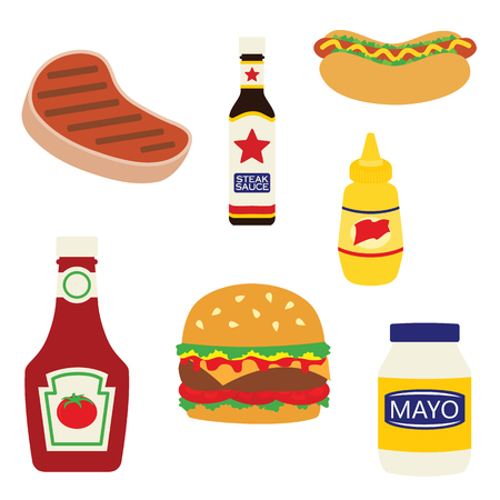 Vector Cookout Picnic Grilled Foods Condiments Illustrations. Perfect for scrapbooking, kids, stationery, parties, clothing, and home decor projects.
