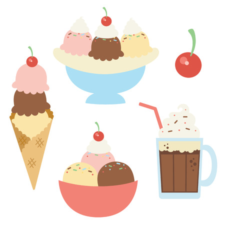 Vector Ice Cream Sundaes with Cherry Illustrations. Perfect for scrapbooking, kids, stationery, parties, clothing, and home decor projects. Illustration