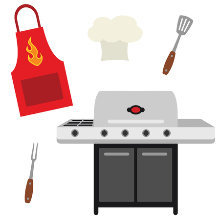 Vector Cookout Grill Utensils Apron Chef Hat Illustrations. Perfect for scrapbooking, kids, stationery, parties, clothing, and home decor projects. Ilustração