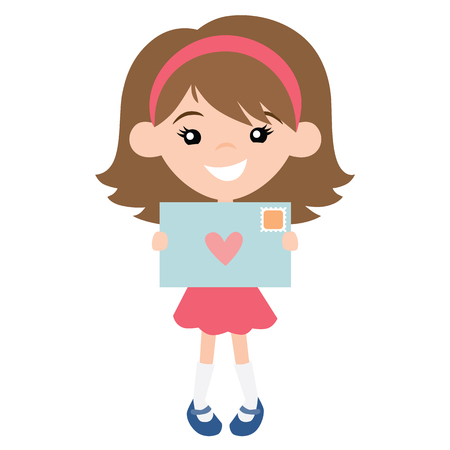 Vector Cute Pen Pal Girl with Envelope Illustration. Perfect for scrapbooking, kids, Valentines Day, pen pals, love, stationery, parties, clothing, and home decor projects. Illustration