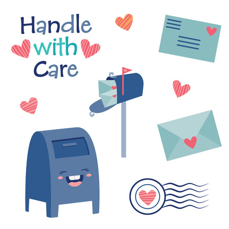 Vector Handle with Care Cute Postal Mail Illustration. Perfect for scrapbooking, kids, Valentines Day, pen pals, love, stationery, parties, clothing, and home decor projects.