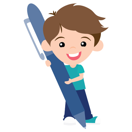Vector Cute Pen Pal Boy with Pen Illustration. Perfect for scrapbooking, kids, Valentines Day, pen pals, love, stationery, parties, clothing, and home decor projects. Illustration
