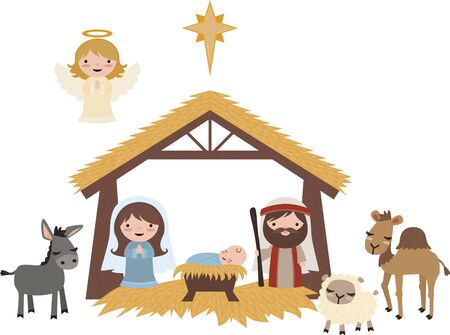 Vector Blue Christmas Nativity Scene Illustration Clip Art Set