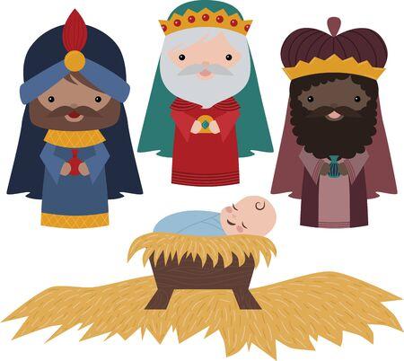 Vector Nativity Three Wise Men Illustration Clip Art Vector Illustration