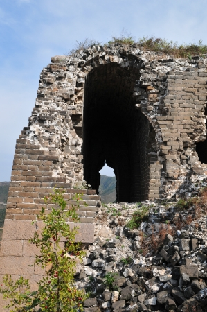 ancient pass: The Great Wall of the original in northern China