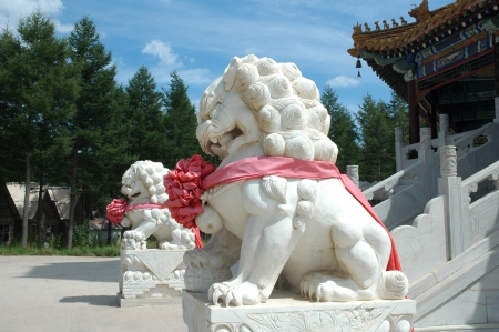 Stone lions  Stock Photo - 17168338