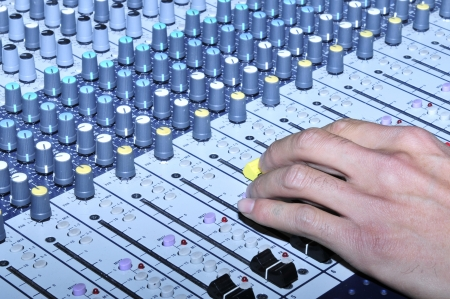 Music mixer in the recording studio close-up   Stock Photo - 17033039