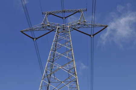 Under the blue sky of high-voltage electric tower Stock Photo - 17033017