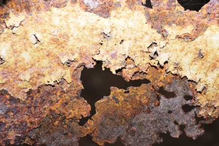 chipped paint: hole chipped paint rusty textured metal background  Stock Photo