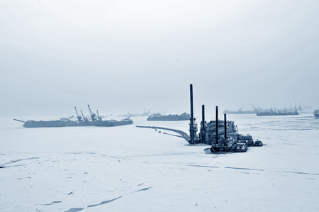 During the winter after a cargo ship
