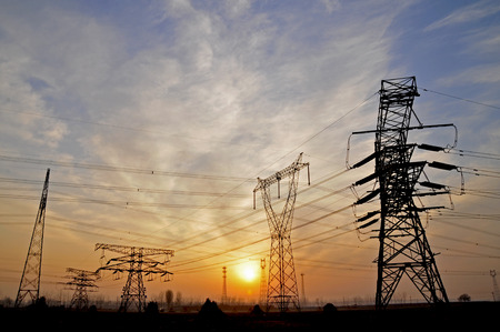 High voltage electric tower line photo