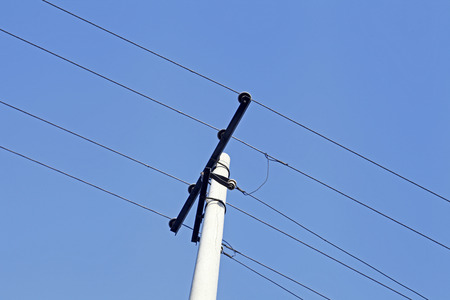 telephone pole: Telephone pole and wires  Stock Photo
