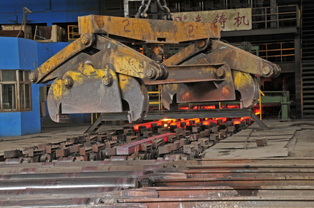 steel mill: Hot steel in the steel mill workshop production line
