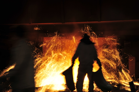 Smelting industry sparks in steel mills