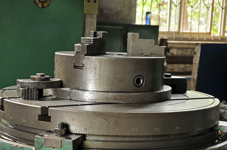 lathe: Steel lathe machinery and equipment Stock Photo