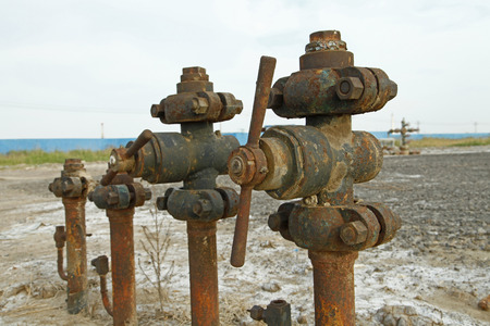 The pipe and valve oil fields photo