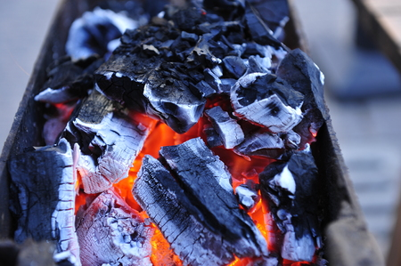 gas fireplace: The charcoal fire