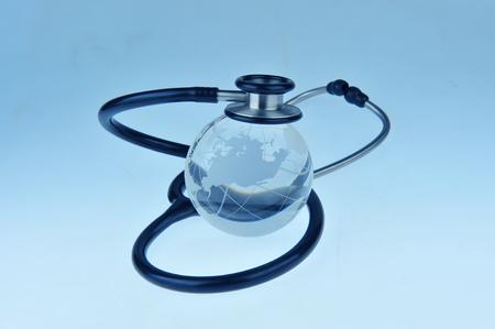 global health: stethoscope, global health care