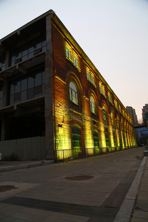 abandoned factory: Abandoned factory buildings at night