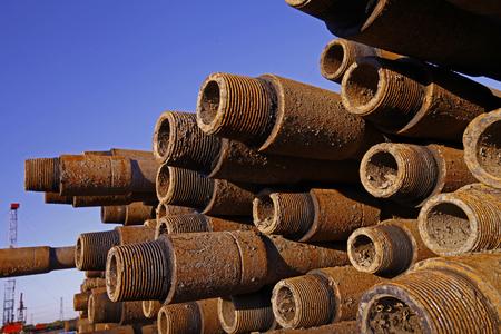 Oil drill pipe Stockfoto