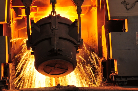 Metal smelting casting Stock Photo