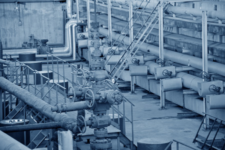 petrochemical plant: Petrochemical plant equipment pipes and valves Stock Photo