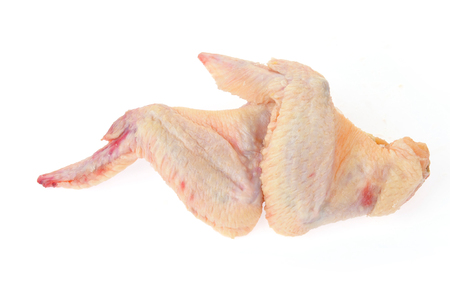 calory: Raw chicken wings on a white background