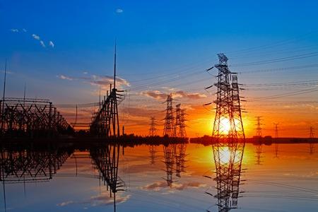 Wire electrical energy at sunset Reklamní fotografie