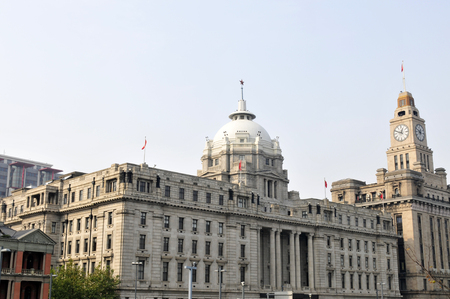 eclecticism: old buildings with modern street in shanghai bund,China