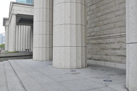 exterior architectural details:  marble columns construction