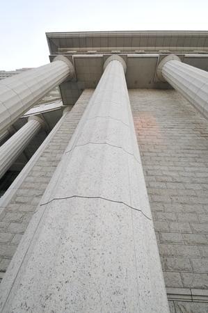 exterior architectural details: Beautiful marble columns construction