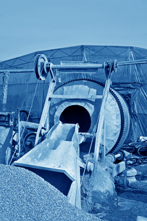 abrasion: Industrial cement mixer in the construction site