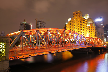 light trails: The garden bridge of Shanghai in China, the landmark. Colorful light trails