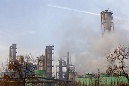 industrial district: Steel mills Smoke and powder dust pollution in large industrial District Editorial