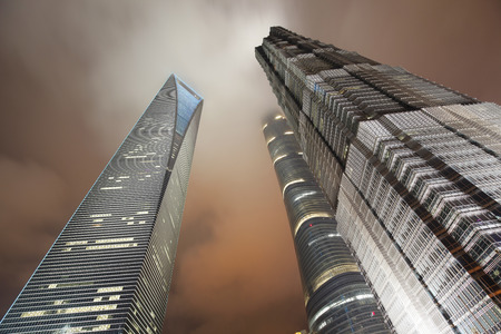 influential: On September 25, 2015, China, Shanghai ?Shanghai lujiazui financial district and commercial buildings in the evening, lujiazui is one of the most influential financial center in China.