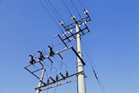 Telefonmasten Und -drähte Und Der Blaue Himmel Lizenzfreie Fotos ...