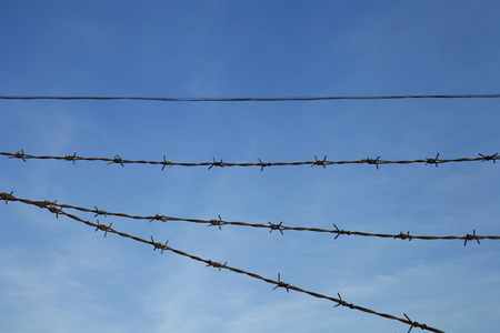 barbed wire: Rusty barbed wire, blue sky background