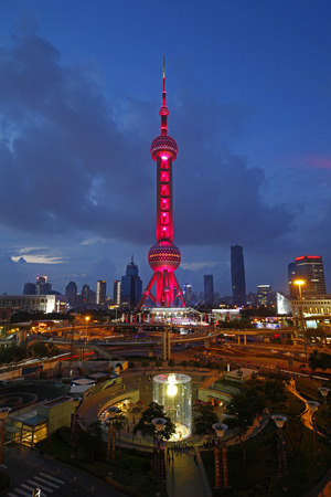 influential: On September 25, 2015, China, Shanghai lujiazui financial district and commercial buildings in the evening, lujiazui is one of the most influential financial center in China.