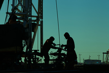 oil pump: Oil drilling exploration, the oil workers are working