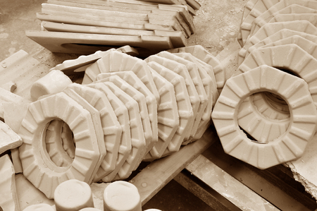 semifinished: Ceramic products are plants Stock Photo
