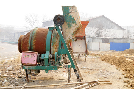 aggregation: Old cement mixers in the construction site