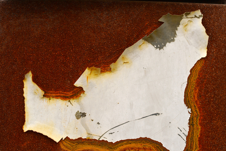 oxidation: The background of the rusty metal hole peeling paint